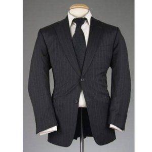 Vtg Jos A Bank Charcoal Pinstripe Wool Blazer